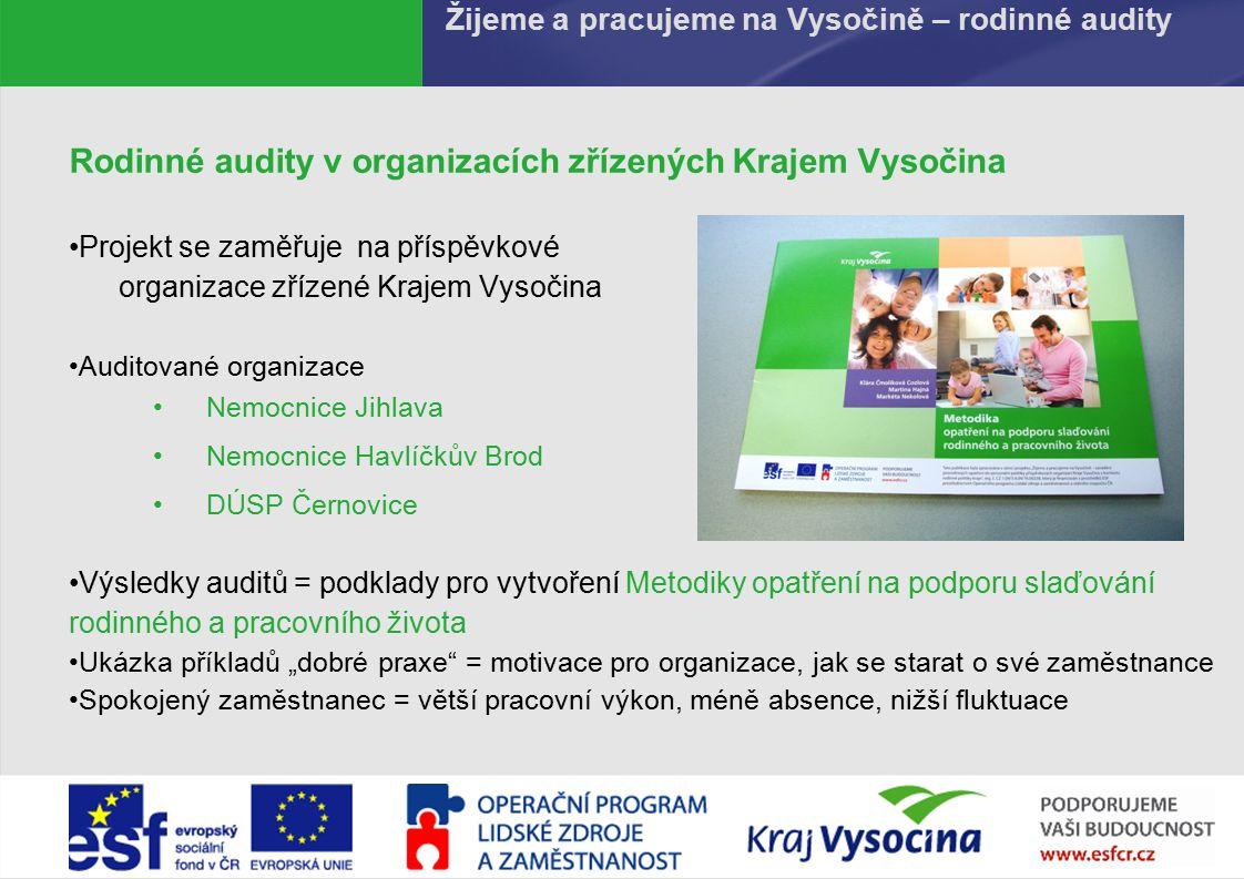 PREZENTUJÍCÍ619.9.2016 Žijeme a pracujeme na Vysočině – rodinné audity Rodinné audity v organizacích zřízených Krajem Vysočina Projekt se zaměřuje na
