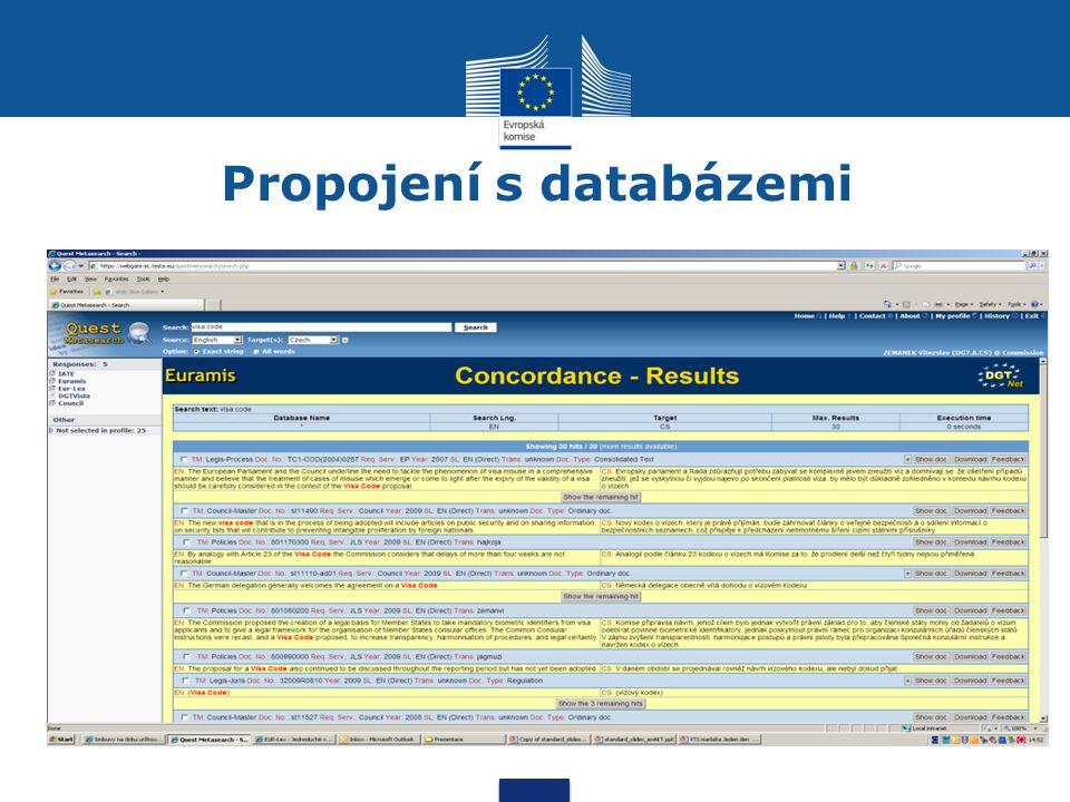Propojení s databázemi