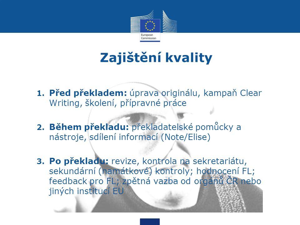 Zajištění kvality 1. Před překladem: úprava originálu, kampaň Clear Writing, školení, přípravné práce 2. Během překladu: překladatelské pomůcky a nást