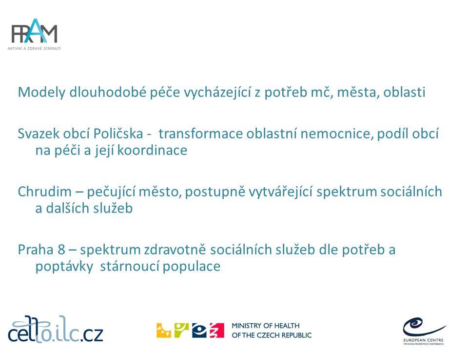 Modely dlouhodobé péče vycházející z potřeb mč, města, oblasti Svazek obcí Poličska - transformace oblastní nemocnice, podíl obcí na péči a její koordinace Chrudim – pečující město, postupně vytvářející spektrum sociálních a dalších služeb Praha 8 – spektrum zdravotně sociálních služeb dle potřeb a poptávky stárnoucí populace