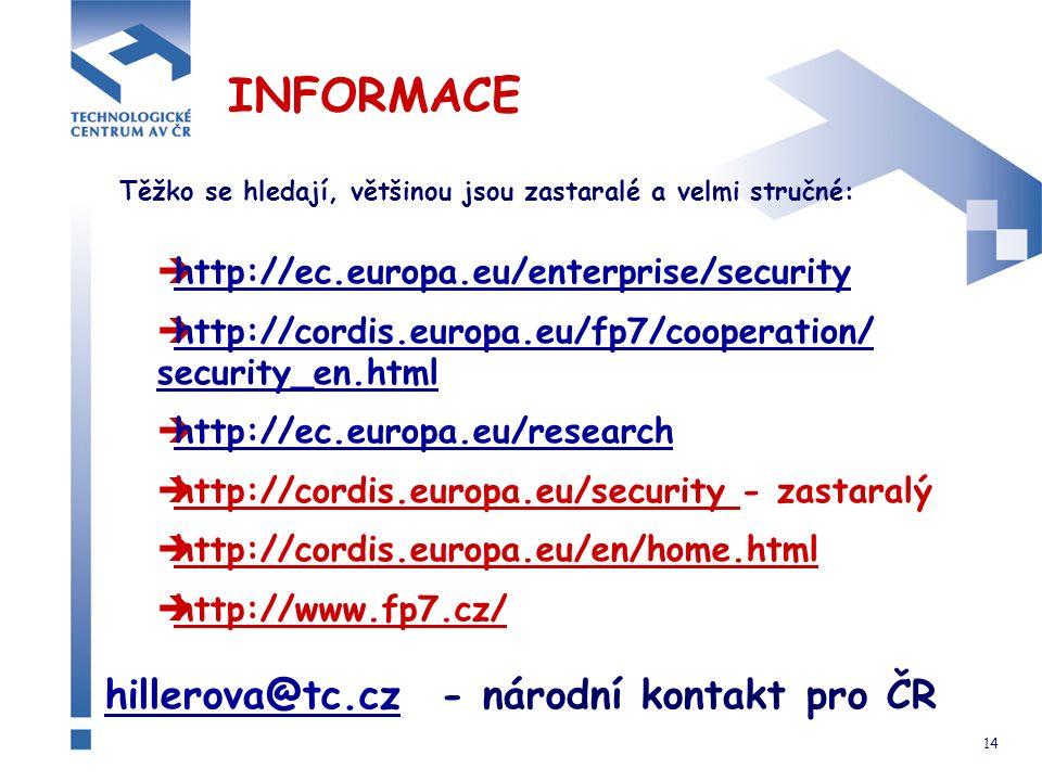 14 INFORMACE Těžko se hledají, většinou jsou zastaralé a velmi stručné:  http://ec.europa.eu/enterprise/security http://ec.europa.eu/enterprise/security  http://cordis.europa.eu/fp7/cooperation/ security_en.html http://cordis.europa.eu/fp7/cooperation/ security_en.html  http://ec.europa.eu/research http://ec.europa.eu/research  http://cordis.europa.eu/security - zastaralý  http://cordis.europa.eu/en/home.html  http://www.fp7.cz/ hillerova@tc.czhillerova@tc.cz - národní kontakt pro ČR