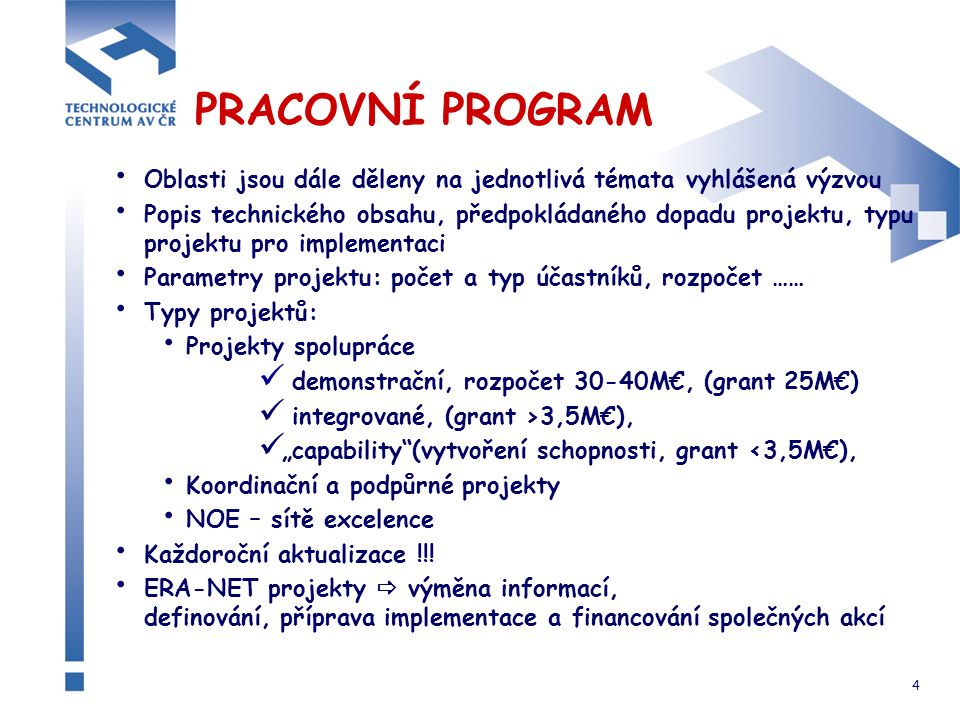 """4 PRACOVNÍ PROGRAM Oblasti jsou dále děleny na jednotlivá témata vyhlášená výzvou Popis technického obsahu, předpokládaného dopadu projektu, typu projektu pro implementaci Parametry projektu: počet a typ účastníků, rozpočet …… Typy projektů: Projekty spolupráce demonstrační, rozpočet 30-40M€, (grant 25M€) integrované, (grant >3,5M€), """"capability (vytvoření schopnosti, grant <3,5M€), Koordinační a podpůrné projekty NOE – sítě excelence Každoroční aktualizace !!."""
