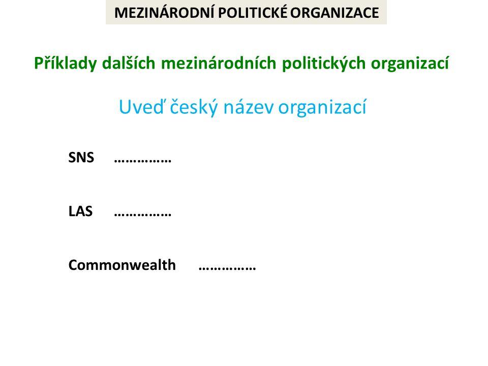 MEZINÁRODNÍ POLITICKÉ ORGANIZACE Příklady dalších mezinárodních politických organizací Uveď český název organizací SNS LAS Commonwealth ……………