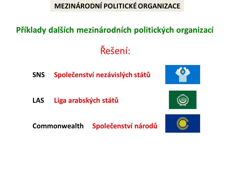 MEZINÁRODNÍ POLITICKÉ ORGANIZACE Příklady dalších mezinárodních politických organizací Commonwealth LAS SNS Řešení: Liga arabských států Společenství nezávislých států Společenství národů