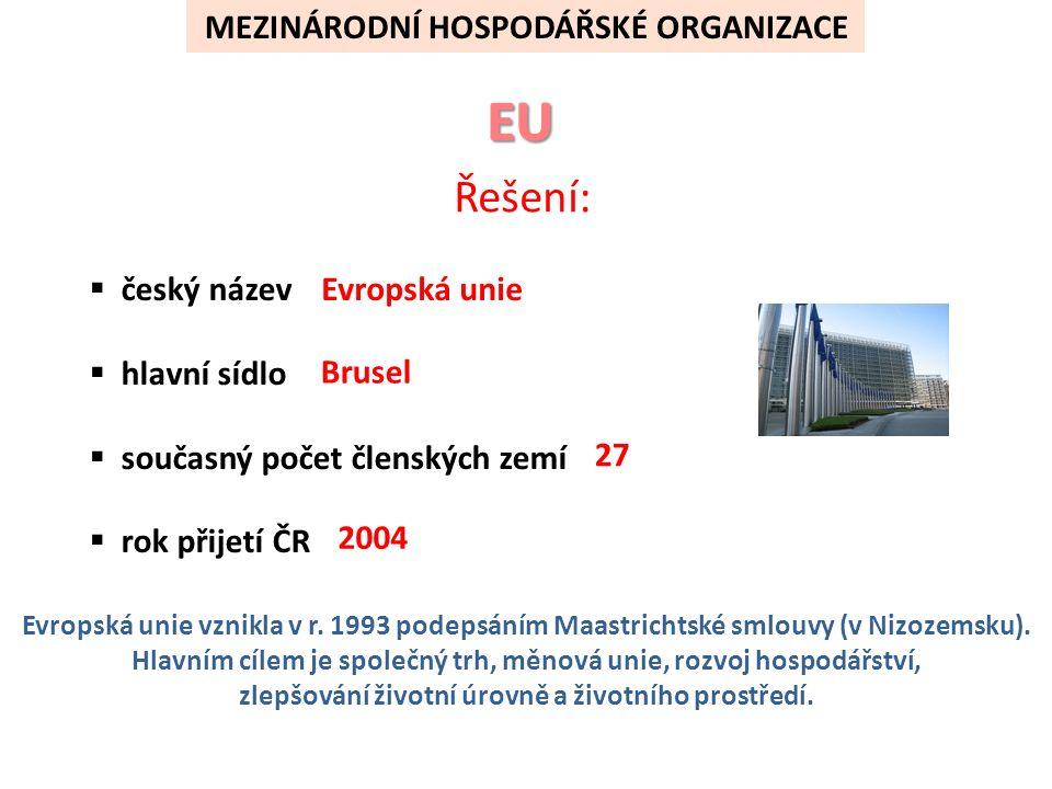 MEZINÁRODNÍ HOSPODÁŘSKÉ ORGANIZACE  český název  hlavní sídlo  současný počet členských zemí  rok přijetí ČR Evropská unie Brusel 27 2004 Evropská unie vznikla v r.