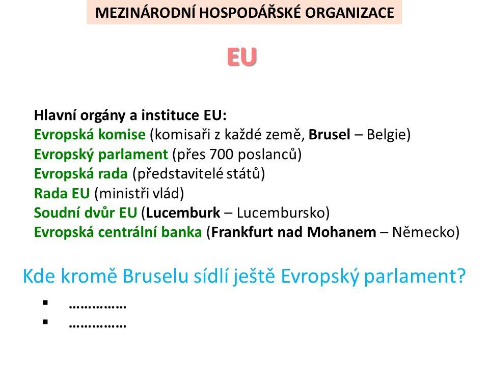 MEZINÁRODNÍ HOSPODÁŘSKÉ ORGANIZACE Hlavní orgány a instituce EU: Evropská komise (komisaři z každé země, Brusel – Belgie) Evropský parlament (přes 700 poslanců) Evropská rada (představitelé států) Rada EU (ministři vlád) Soudní dvůr EU (Lucemburk – Lucembursko) Evropská centrální banka (Frankfurt nad Mohanem – Německo) Kde kromě Bruselu sídlí ještě Evropský parlament.