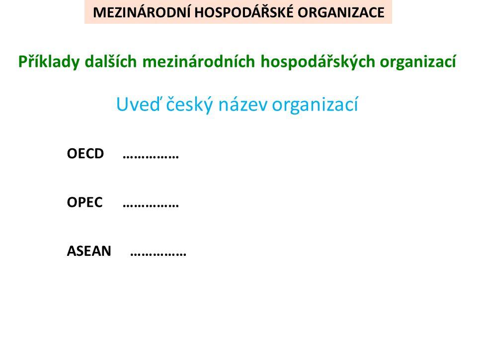Příklady dalších mezinárodních hospodářských organizací Uveď český název organizací OECD OPEC ASEAN …………… MEZINÁRODNÍ HOSPODÁŘSKÉ ORGANIZACE