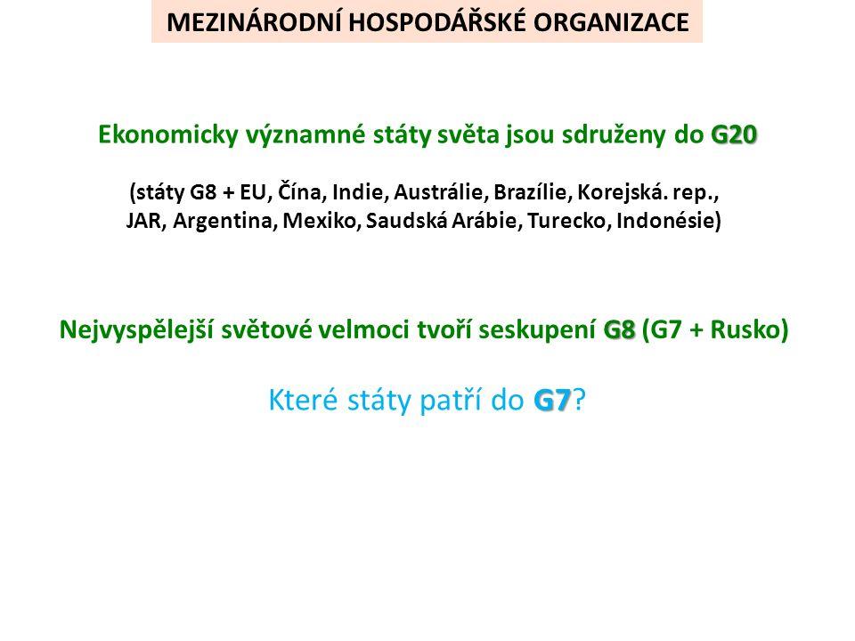G20 Ekonomicky významné státy světa jsou sdruženy do G20 (státy G8 + EU, Čína, Indie, Austrálie, Brazílie, Korejská.