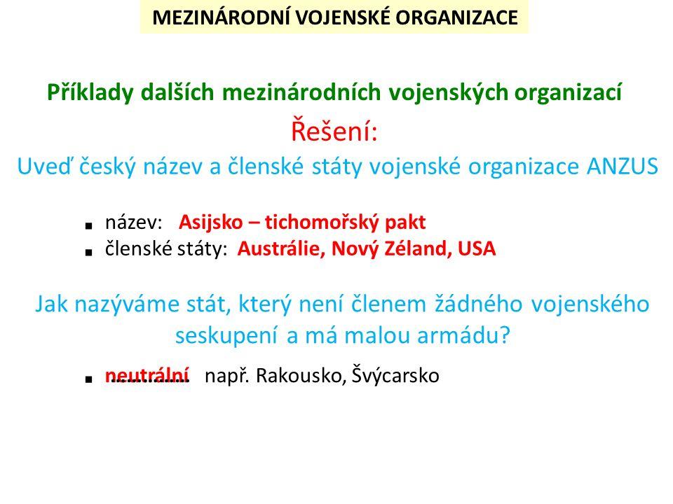 Příklady dalších mezinárodních vojenských organizací Uveď český název a členské státy vojenské organizace ANZUS Jak nazýváme stát, který není členem žádného vojenského seskupení a má malou armádu.