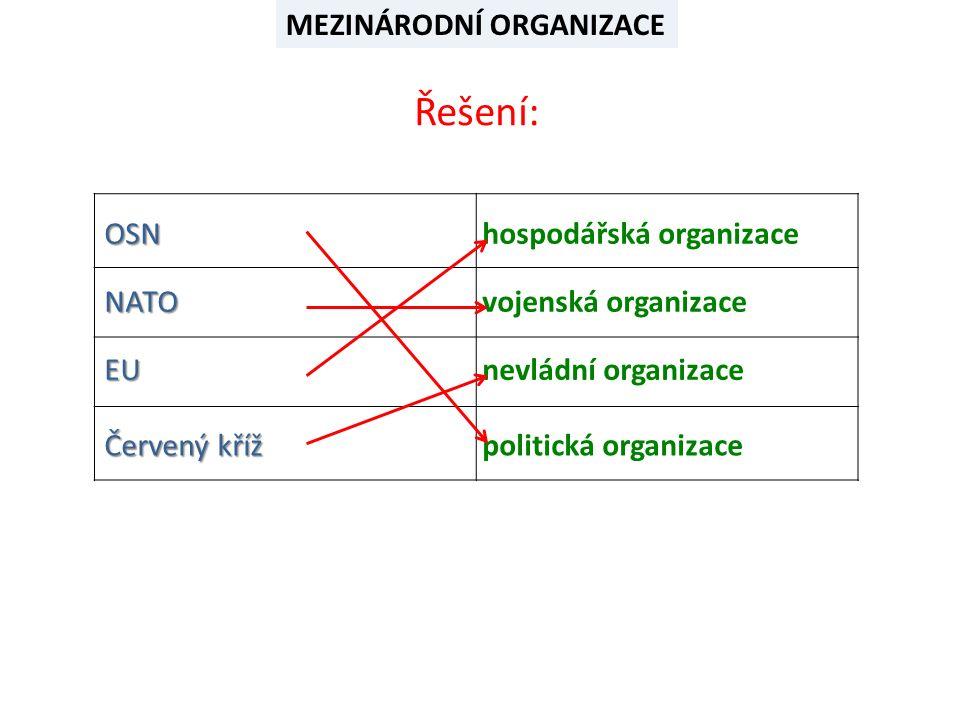 OSN NATO Červený kříž EU hospodářská organizace politická organizace nevládní organizace vojenská organizace MEZINÁRODNÍ ORGANIZACE Řešení: