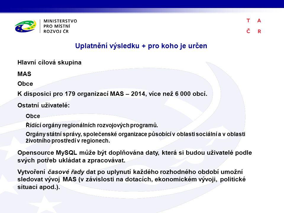 Uplatnění výsledku + pro koho je určen Hlavní cílová skupina MAS Obce K disposici pro 179 organizací MAS – 2014, více než 6 000 obcí.