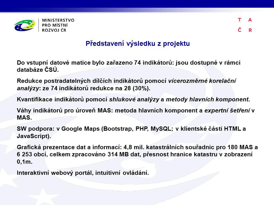 Do vstupní datové matice bylo zařazeno 74 indikátorů: jsou dostupné v rámci databáze ČSÚ.