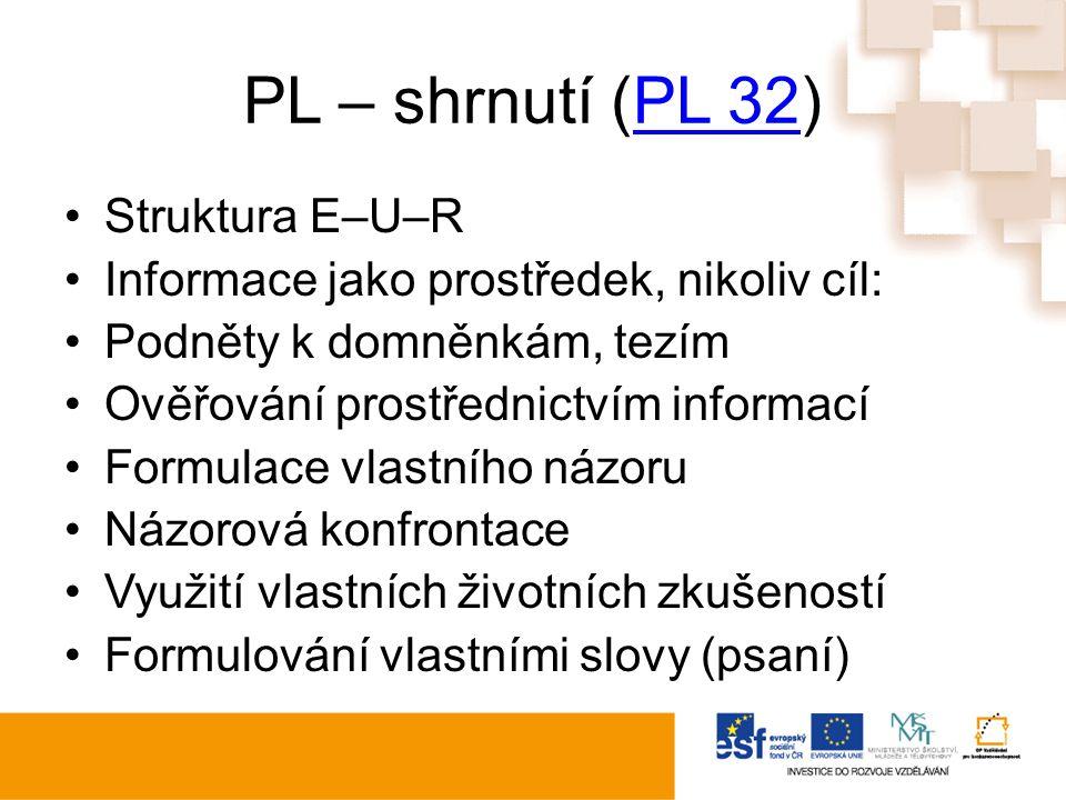 PL – shrnutí (PL 32)PL 32 Struktura E–U–R Informace jako prostředek, nikoliv cíl: Podněty k domněnkám, tezím Ověřování prostřednictvím informací Formu