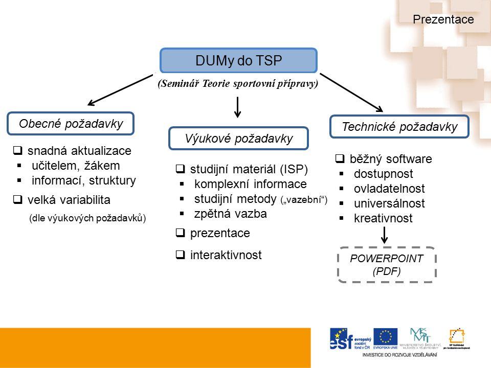 """Výukové požadavky Obecné požadavky Technické požadavky (Seminář Teorie sportovní přípravy)  snadná aktualizace  učitelem, žákem  informací, struktury  velká variabilita (dle výukových požadavků)  studijní materiál (ISP)  komplexní informace  studijní metody (""""vazební )  zpětná vazba  prezentace  interaktivnost  běžný software  dostupnost  ovladatelnost  universálnost  kreativnost POWERPOINT (PDF) Prezentace"""