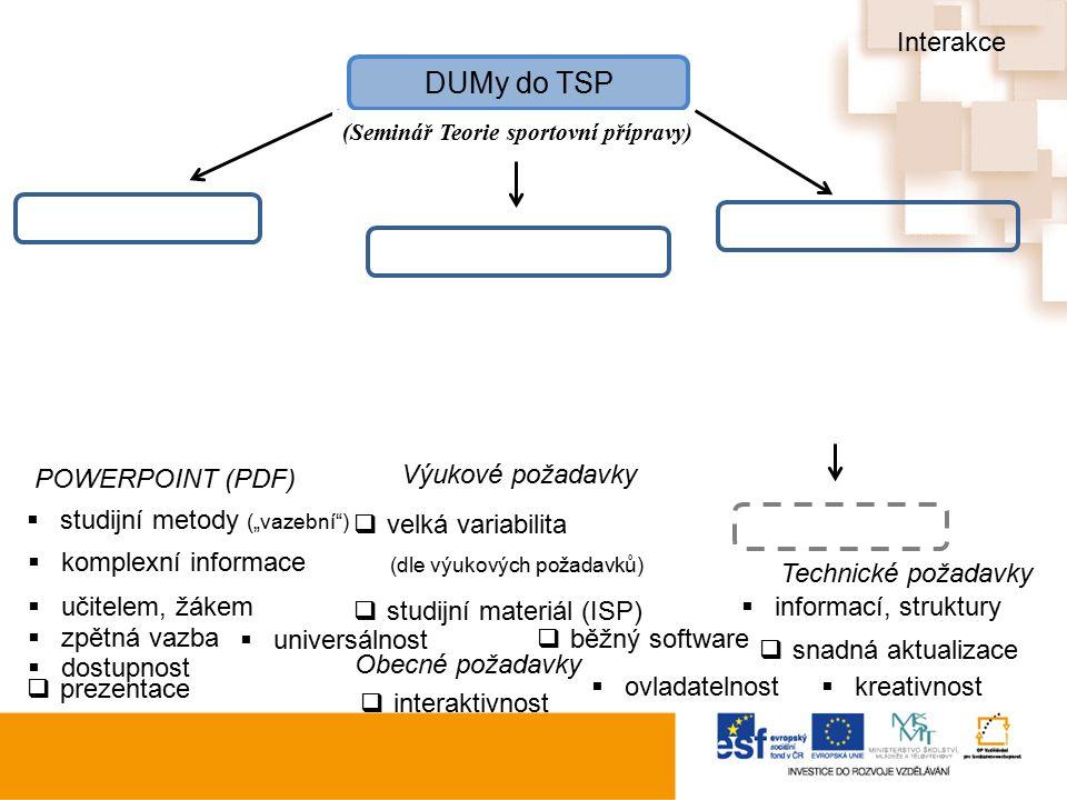 """DUMy do TSP (Seminář Teorie sportovní přípravy)  velká variabilita (dle výukových požadavků)  kreativnost Obecné požadavky  snadná aktualizace  učitelem, žákem  informací, struktury  studijní materiál (ISP)  zpětná vazba  prezentace  interaktivnost  komplexní informace  studijní metody (""""vazební )  běžný software  dostupnost  universálnost  ovladatelnost Výukové požadavky Technické požadavky POWERPOINT (PDF) Interakce"""