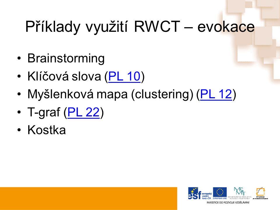 Příklady využití RWCT – evokace Brainstorming Klíčová slova (PL 10)PL 10 Myšlenková mapa (clustering) (PL 12)PL 12 T-graf (PL 22)PL 22 Kostka