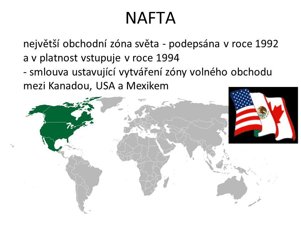 NAFTA největší obchodní zóna světa - podepsána v roce 1992 a v platnost vstupuje v roce 1994 - smlouva ustavující vytváření zóny volného obchodu mezi