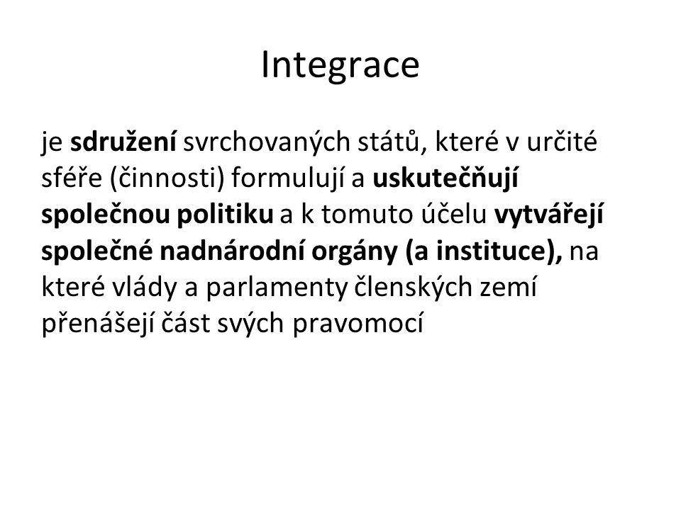 Integrace je sdružení svrchovaných států, které v určité sféře (činnosti) formulují a uskutečňují společnou politiku a k tomuto účelu vytvářejí společ