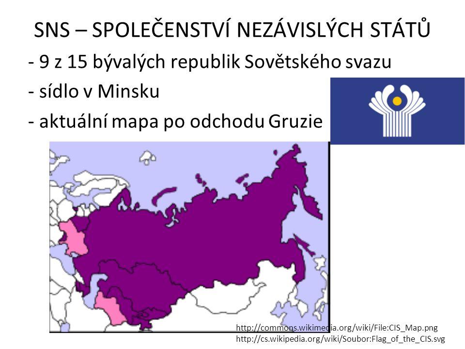 SNS – SPOLEČENSTVÍ NEZÁVISLÝCH STÁTŮ - 9 z 15 bývalých republik Sovětského svazu - sídlo v Minsku - aktuální mapa po odchodu Gruzie http://commons.wik