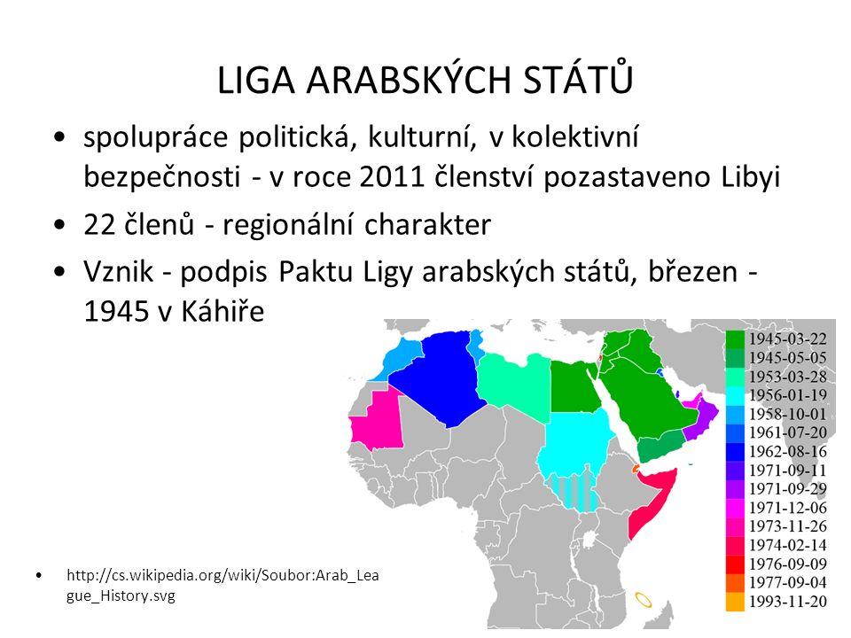 LIGA ARABSKÝCH STÁTŮ spolupráce politická, kulturní, v kolektivní bezpečnosti - v roce 2011 členství pozastaveno Libyi 22 členů - regionální charakter