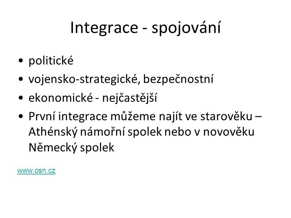 Integrace - spojování politické vojensko-strategické, bezpečnostní ekonomické - nejčastější První integrace můžeme najít ve starověku – Athénský námoř