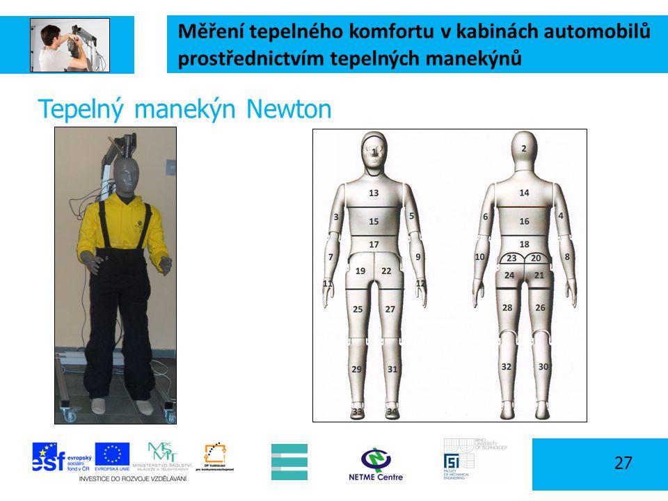 Měření tepelného komfortu v kabinách automobilů prostřednictvím tepelných manekýnů 27 Tepelný manekýn Newton