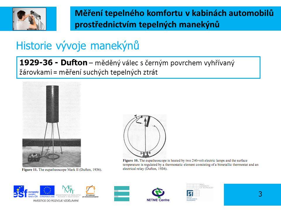 Měření tepelného komfortu v kabinách automobilů prostřednictvím tepelných manekýnů 3 Historie vývoje manekýnů 1929-36 - Dufton – měděný válec s černým povrchem vyhřívaný žárovkami = měření suchých tepelných ztrát