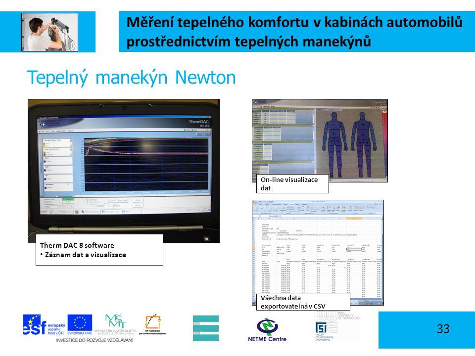 Měření tepelného komfortu v kabinách automobilů prostřednictvím tepelných manekýnů 33 Tepelný manekýn Newton Therm DAC 8 software Záznam dat a vizualizace Všechna data exportovatelná v CSV On-line visualizace dat