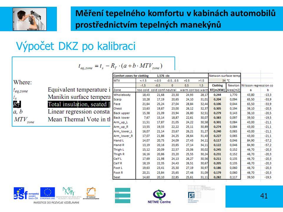 Měření tepelného komfortu v kabinách automobilů prostřednictvím tepelných manekýnů 41 Výpočet DKZ po kalibraci