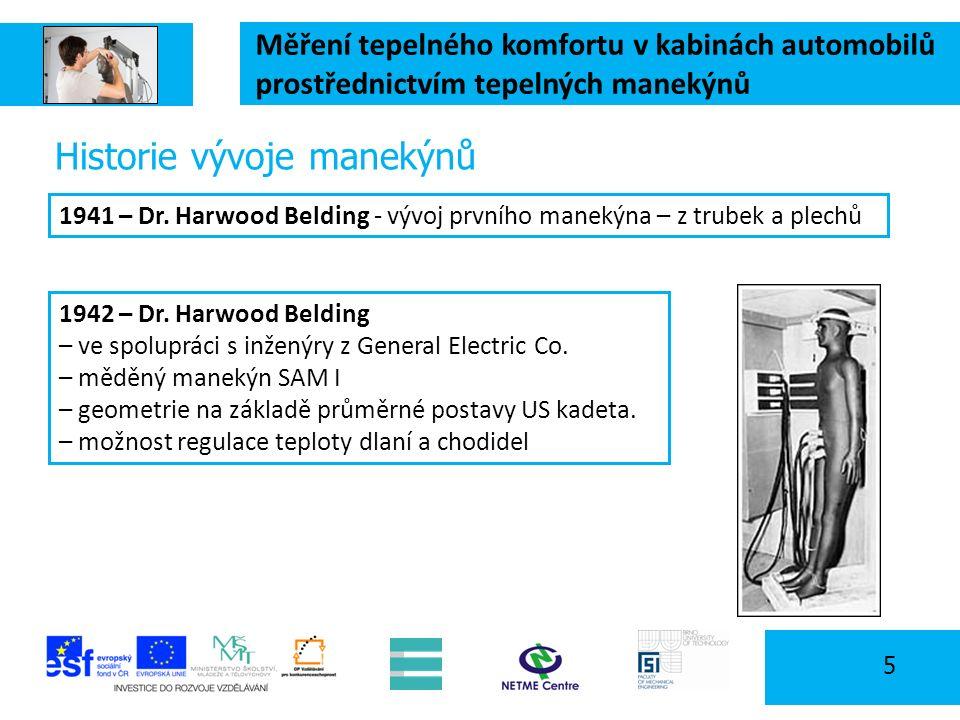 Měření tepelného komfortu v kabinách automobilů prostřednictvím tepelných manekýnů 5 Historie vývoje manekýnů 1941 – Dr. Harwood Belding - vývoj první