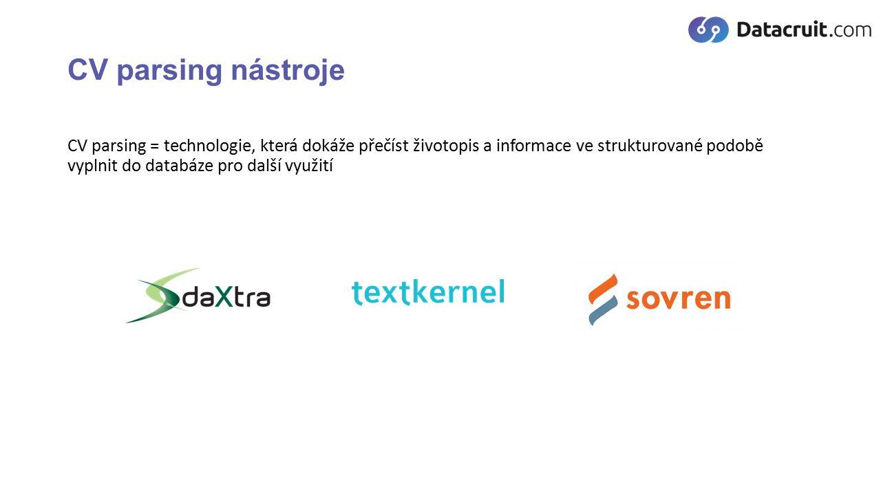 CV parsing nástroje CV parsing = technologie, která dokáže přečíst životopis a informace ve strukturované podobě vyplnit do databáze pro další využití