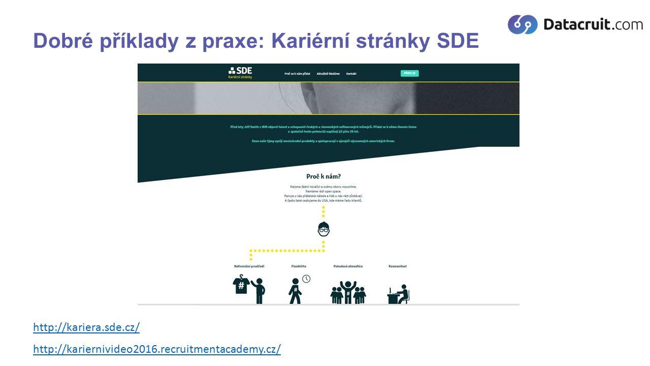 Dobré příklady z praxe: Kariérní stránky SDE http://kariera.sde.cz/ http://kariernivideo2016.recruitmentacademy.cz/