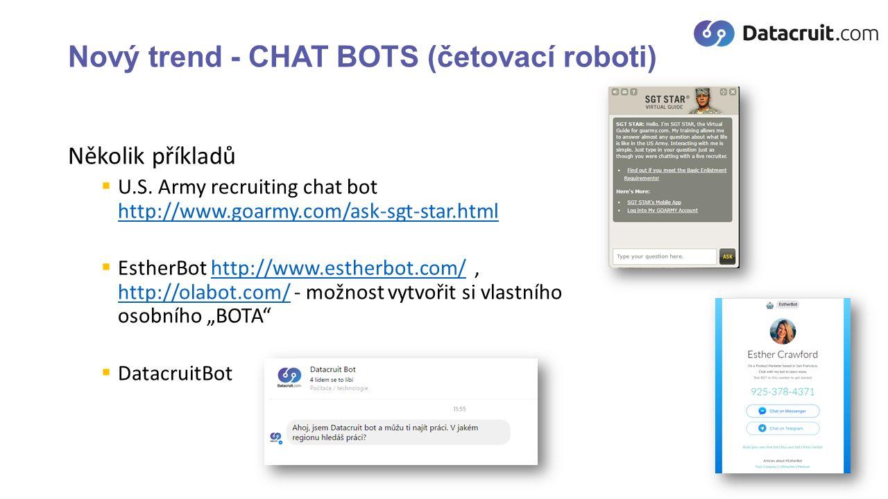Nový trend - CHAT BOTS (četovací roboti) Několik příkladů  U.S.