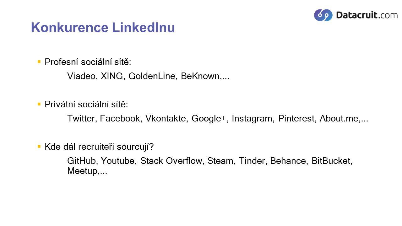Užitečné pluginy  Facebook Search Tool https://chrome.google.com/webstore/detail/facebook- search/dipfggodcibdmflidbceoaanadclgomm, http://www.intel-sw.com/blog/facebook-search/https://chrome.google.com/webstore/detail/facebook- search/dipfggodcibdmflidbceoaanadclgommhttp://www.intel-sw.com/blog/facebook-search/  Datacruit – LinkedIn Advanced Sourcer plugin https://chrome.google.com/webstore/detail/datacruit-linkedin- advanc/jfgopjkijllnoaliadkkimbmkbdebphk https://chrome.google.com/webstore/detail/datacruit-linkedin- advanc/jfgopjkijllnoaliadkkimbmkbdebphk