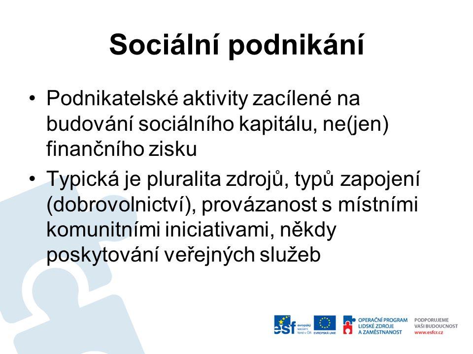 Sociální podnikání Podnikatelské aktivity zacílené na budování sociálního kapitálu, ne(jen) finančního zisku Typická je pluralita zdrojů, typů zapojení (dobrovolnictví), provázanost s místními komunitními iniciativami, někdy poskytování veřejných služeb