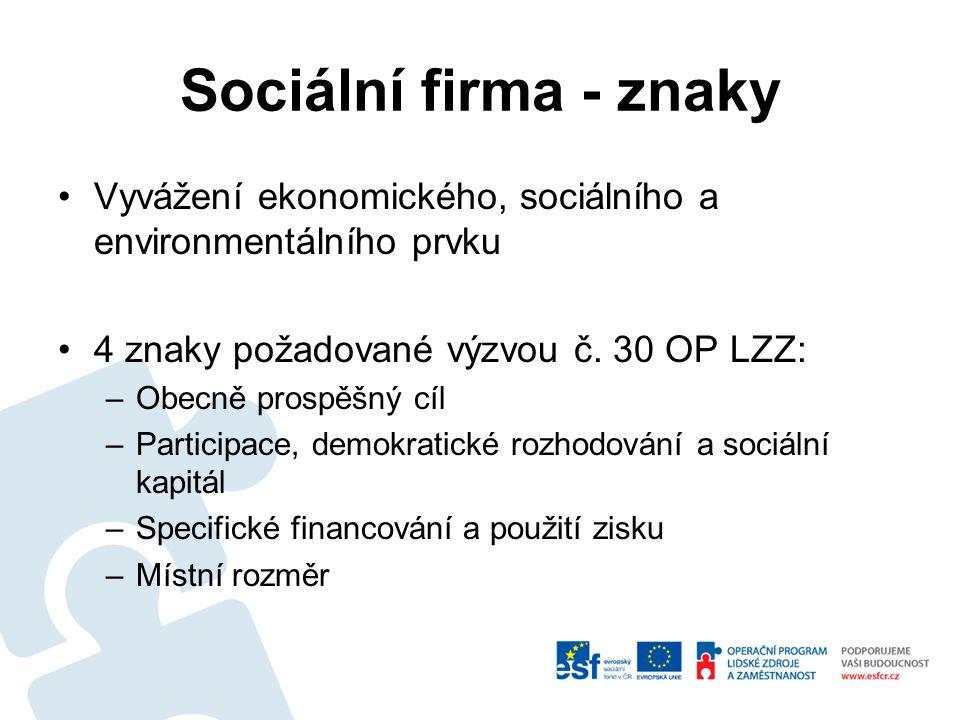 Sociální firma - znaky Vyvážení ekonomického, sociálního a environmentálního prvku 4 znaky požadované výzvou č. 30 OP LZZ: –Obecně prospěšný cíl –Part