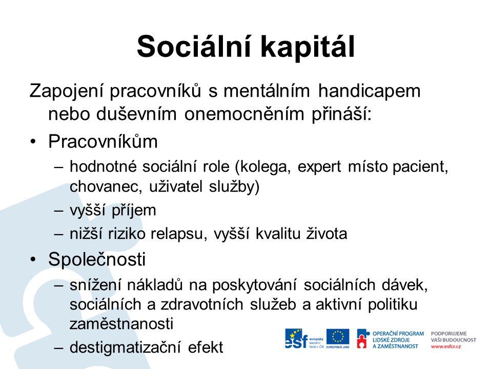 Sociální kapitál Zapojení pracovníků s mentálním handicapem nebo duševním onemocněním přináší: Pracovníkům –hodnotné sociální role (kolega, expert místo pacient, chovanec, uživatel služby) –vyšší příjem –nižší riziko relapsu, vyšší kvalitu života Společnosti –snížení nákladů na poskytování sociálních dávek, sociálních a zdravotních služeb a aktivní politiku zaměstnanosti –destigmatizační efekt