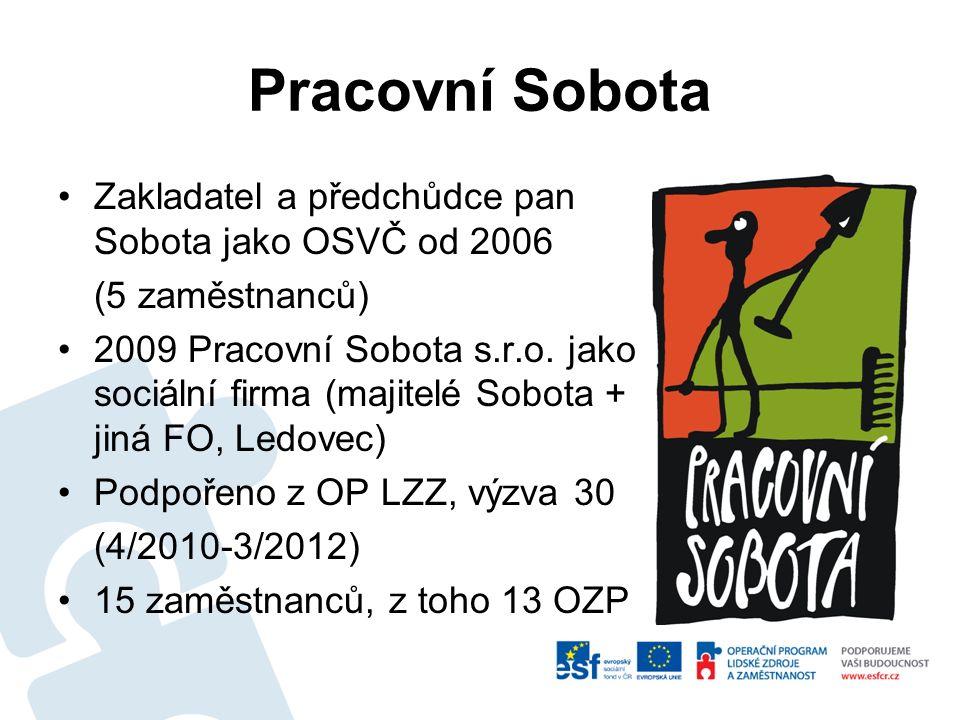 Pracovní Sobota Zakladatel a předchůdce pan Sobota jako OSVČ od 2006 (5 zaměstnanců) 2009 Pracovní Sobota s.r.o. jako sociální firma (majitelé Sobota