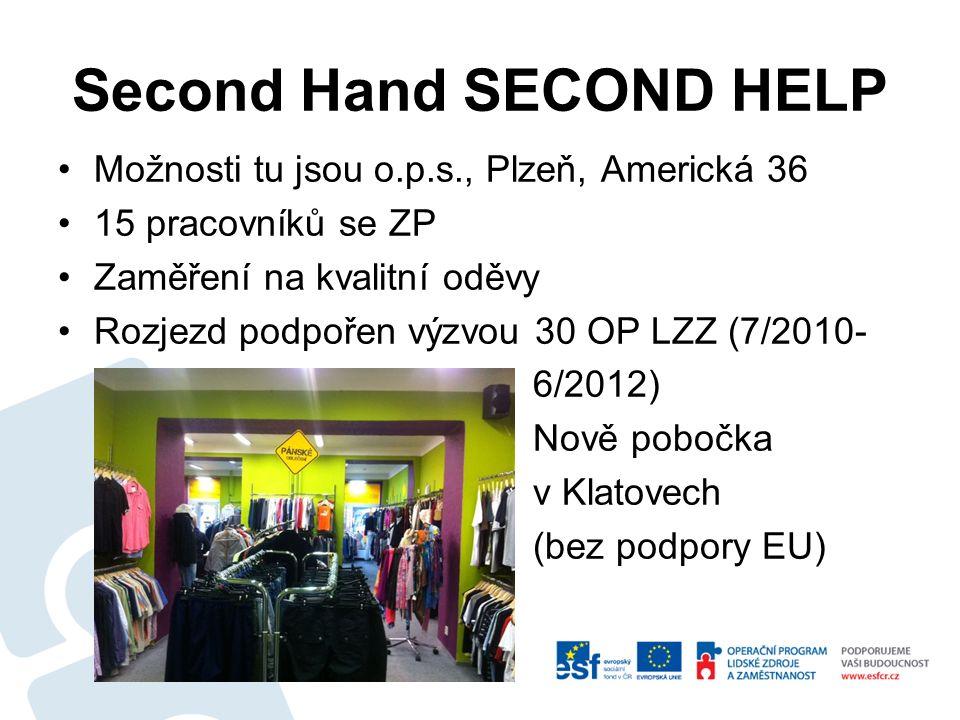 Second Hand SECOND HELP Možnosti tu jsou o.p.s., Plzeň, Americká 36 15 pracovníků se ZP Zaměření na kvalitní oděvy Rozjezd podpořen výzvou 30 OP LZZ (7/2010- 6/2012) Nově pobočka v Klatovech (bez podpory EU)