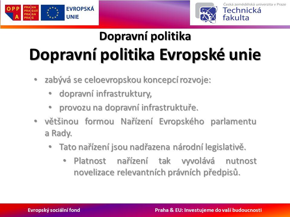 Evropský sociální fond Praha & EU: Investujeme do vaší budoucnosti Dopravní politika Dopravní politika Evropské unie zabývá se celoevropskou koncepcí rozvoje: zabývá se celoevropskou koncepcí rozvoje: dopravní infrastruktury, dopravní infrastruktury, provozu na dopravní infrastruktuře.