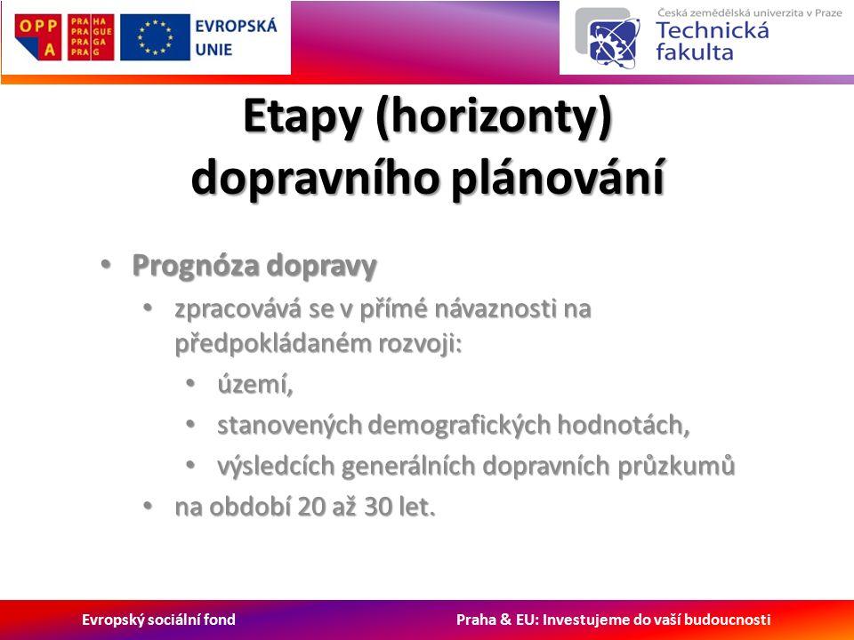 Evropský sociální fond Praha & EU: Investujeme do vaší budoucnosti Etapy (horizonty) dopravního plánování Prognóza dopravy Prognóza dopravy zpracovává se v přímé návaznosti na předpokládaném rozvoji: zpracovává se v přímé návaznosti na předpokládaném rozvoji: území, území, stanovených demografických hodnotách, stanovených demografických hodnotách, výsledcích generálních dopravních průzkumů výsledcích generálních dopravních průzkumů na období 20 až 30 let.