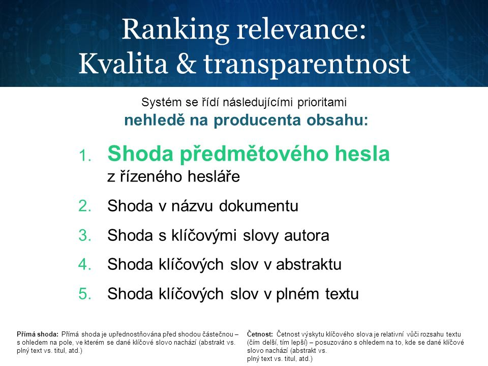 Ranking relevance: Kvalita & transparentnost Systém se řídí následujícími prioritami nehledě na producenta obsahu: 1. Shoda předmětového hesla z řízen