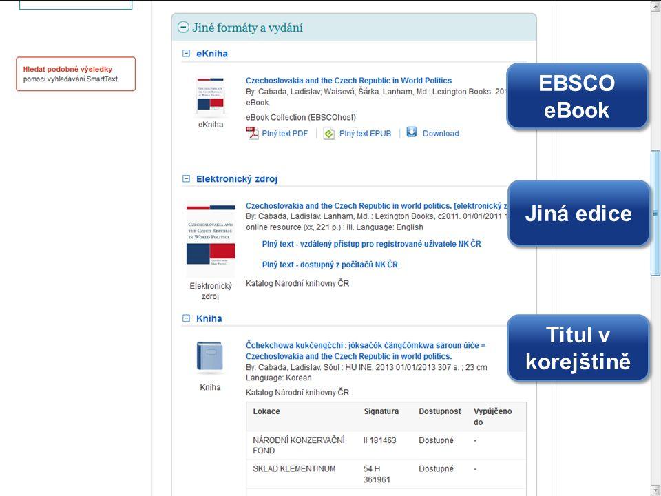EBSCO eBook Jiná edice Titul v korejštině