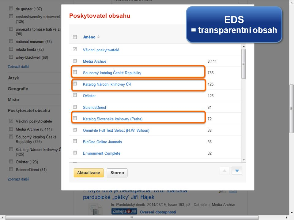 EDS = transparentní obsah EDS = transparentní obsah