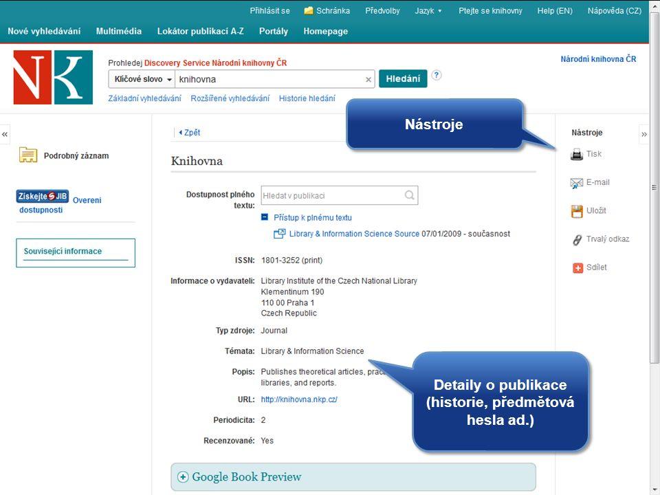Detaily o publikace (historie, předmětová hesla ad.) Nástroje