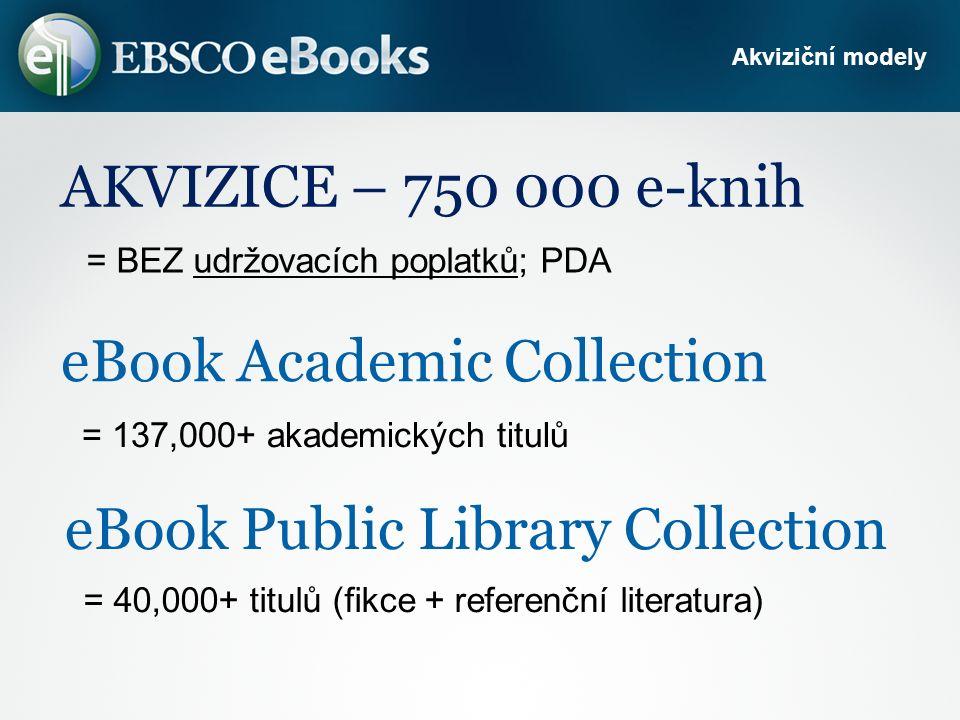 eBook Academic Collection = 137,000+ akademických titulů Akviziční modely eBook Public Library Collection = 40,000+ titulů (fikce + referenční literatura) AKVIZICE – 750 000 e-knih = BEZ udržovacích poplatků; PDA