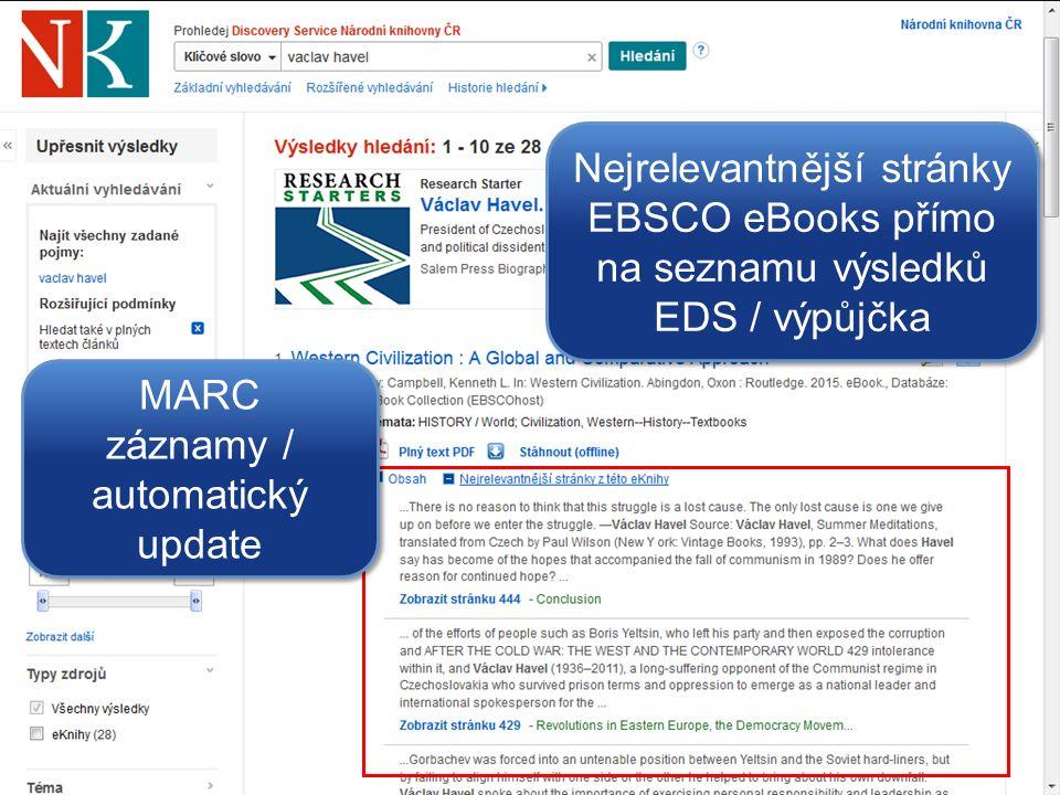 Nejrelevantnější stránky EBSCO eBooks přímo na seznamu výsledků EDS / výpůjčka MARC záznamy / automatický update MARC záznamy / automatický update