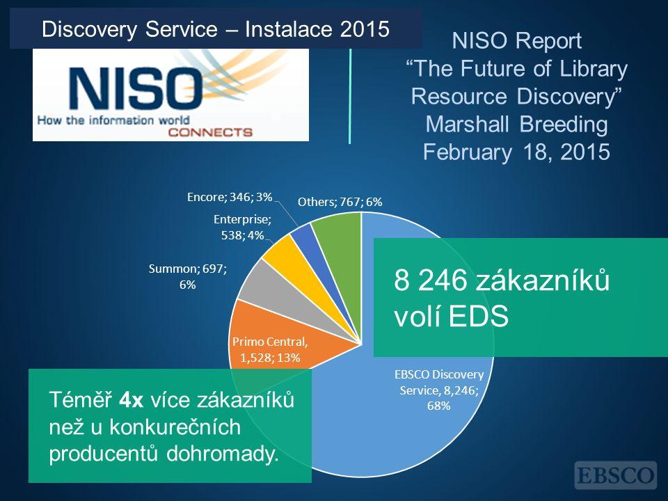 """NISO Report """"The Future of Library Resource Discovery"""" Marshall Breeding February 18, 2015 Téměř 4x více zákazníků než u konkurečních producentů dohro"""