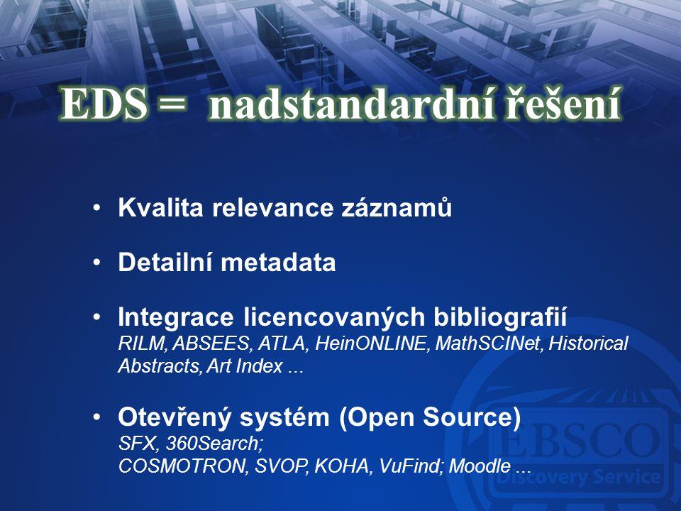 Kvalita relevance záznamů Detailní metadata Integrace licencovaných bibliografií RILM, ABSEES, ATLA, HeinONLINE, MathSCINet, Historical Abstracts, Art
