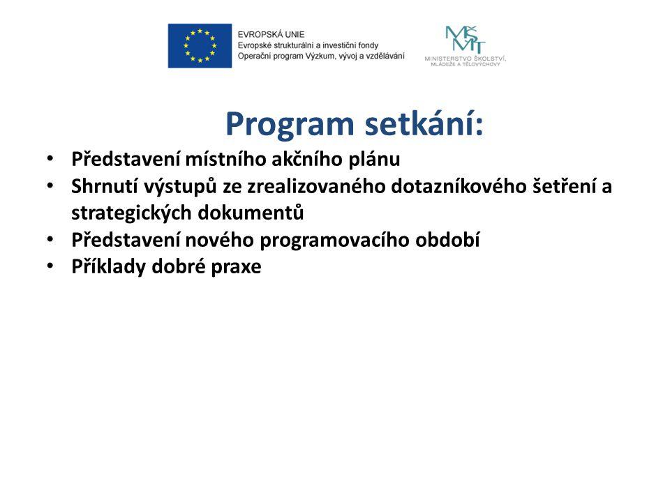 Program setkání: Představení místního akčního plánu Shrnutí výstupů ze zrealizovaného dotazníkového šetření a strategických dokumentů Představení nového programovacího období Příklady dobré praxe